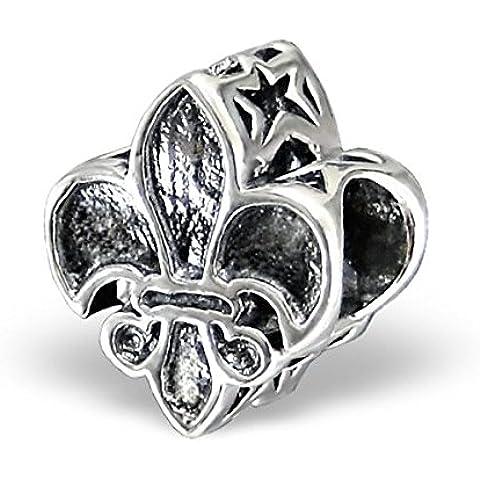 Silvadore-Bead in argento a forma di carte da gioco, per mazze, motivo: stelle, in argento Sterling 925 con Charm scorrevole 518-Braccialetto Pandora europea in confezione regalo