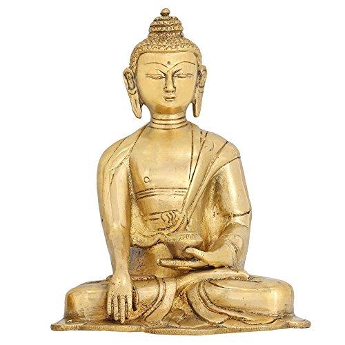 Scultura Terra Buddha statua buddista per la decorazione domestica Brass 6 pollici