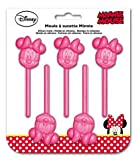 Ragusa-Trade Disney Minnie Maus, Silikonbackform Lollipopform, antihaftbeschichtet, hohe Formstabilität und Flexibilität, spülmaschinengeeignet, rosa, Ø ca. 4 cm, Länge ca 10 cm