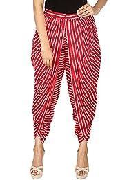 Red & White Striped Rayon Dhoti Pant, Patiala Dhoti Salwar For Women, Girls From Khazana Basics (JTDH7112, Red...