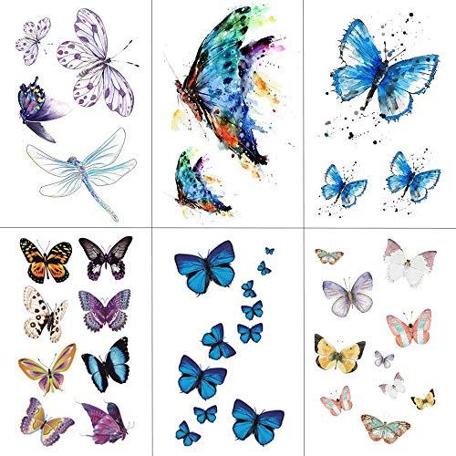 fkleber Aquarell Schmetterling Temporäre Tätowierung Aufkleber Wasserdicht Frauen Gefälschte Tätowierungen Männer Kinder Kunst Heißer Entwurf 9,8X6 cm ()