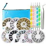 8 Boxen Nagel Kunst Strasssteine Bunt Nagel Deko Kristall Rad - Nail Art Steine Strass Perlen Dekoration Set mit 5 Stück Zubehör Stift und Pinzette #1
