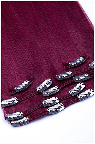 GlamXtensions Clip In Extensions Set für komplette Haarverlängerung 100% Remy Echthaar 7 teilig 80g hochwertigeres Remy Haar 40 cm in der Haarfarbe 720 Burgunder (Curly Hair Extensions Lila)