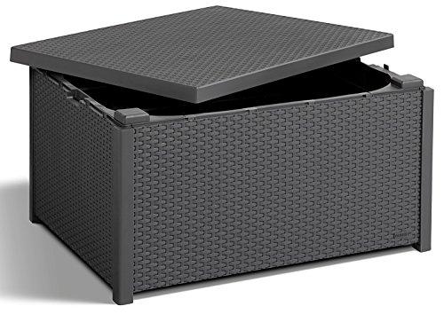 Koll Living Ablagetisch graphit - Tisch mit Kissenboxfunktion in naturgetreuer Rattanoptik - kann...
