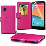 ( Hot Pink ) LG Google Nexus 5 Ledergeldbörse Flip Hülle Tasche Mit-Schirm-Schutz-Schutz By Spyrox