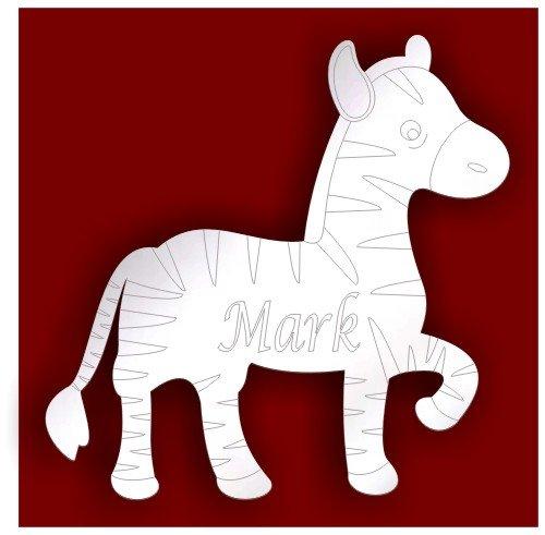 Porta bambini camera da letto personalizzata-10cm Etched Zebra acrilico specchio estate * vendita *