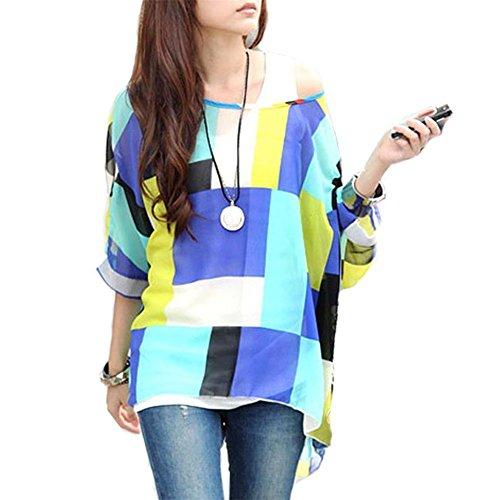 T-shirt Donna Fiori - BienBien Maglietta Manica 3/4 Bohemian Chiffon Blusa Taglie Forti T Shirt Stampa Chiffon B19
