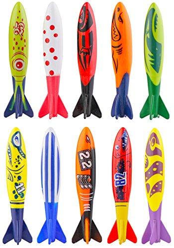Kompanion 10-Stück Torpedo Bandits Pool/Schwimmbad Tauchen-Spielzeug Set in Einzigartigem Design, Schwimmhilfe für Kinder und Erwachsene, Tolle Sommer Pool Spielzeug und Tauchen Spiel -