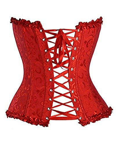 Alice & Elmer Damen Bridal Wäsche schnürt sich oben Satin ohne Knochen Korsett mit G-Schnur Rot