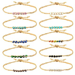 VU100 10Pcs Handmade Braided Woven Friendship Bracelets Set - 100% Waterproof Strings Adjustable Hemp Beaded Anklets Bracelet Jewellery for Women Girls Kids Gifts for Birthday