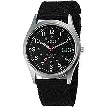 Reloj para Hombre,Moda Hombre Analógico de Cuarzo Militar Deporte Cuero de Lona Reloj de