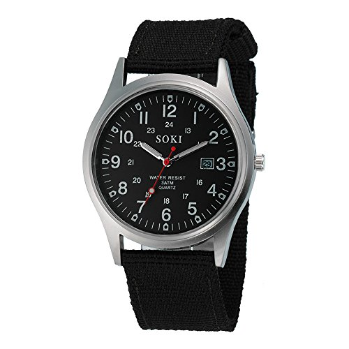 IG-Invictus Military Army Men Datum Canvas Band Edelstahl Sport Quarz-Armbanduhr BK SOKI Canvas Kalender Uhr schwarz