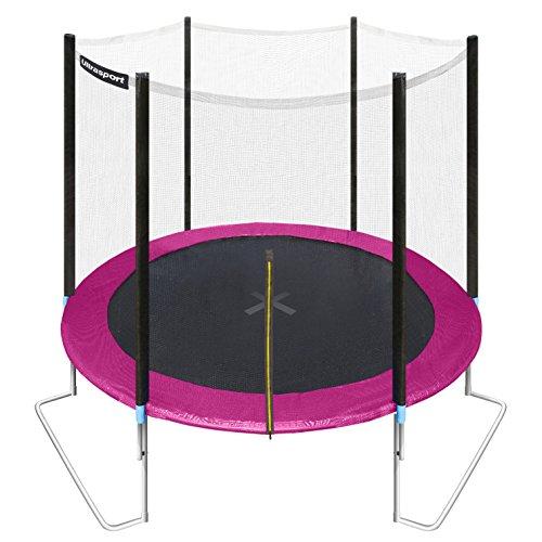 ultrasport-trampolino-da-giardino-jumper-inclusa-rete-di-sicurezza-rosa-251-cm