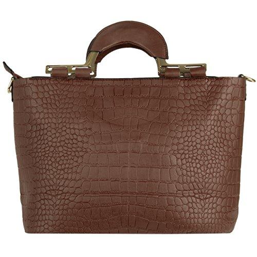 VanGoddy Samba Serie Borsa a spalla donna borse a mano ecopelle borsa messenger Shopping Bag (Marrone)