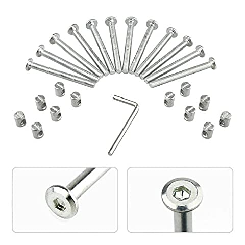 M6 Barrel Blot Nuts Kit Including M6 x 2.48inch Barrel Blots, M6 x 0.49inch Barrel Nuts and 1 x Allen key, for Furniture, Cots, Beds, Crib and Chairs (12 Packs