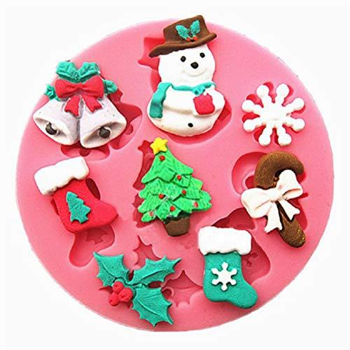 Flybloom Weihnachten Stil Schneemann Schneeflocke Form Silikon Formen DIY Schokolade Fondant Sugarcraft Plätzchenform Kuchen Dekor Backen Werkzeuge