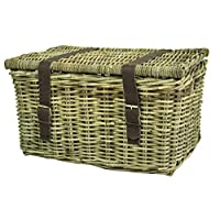 east2eden Grey Kubu Rattan Durable Strong Wicker Chest Trunk Hamper Storage Basket in Choice of Sizes (Large)