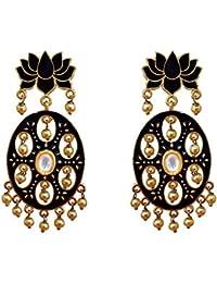 Designer Meenakari Lotus Shape Gold Plated Kundan Brass Black Earring Set