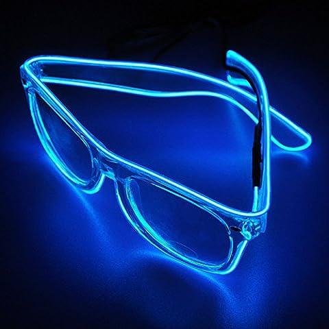 [Accessoires pour Noël] veeki EL fil LED Light Up Fashion Lunettes de lunettes Néon lumineux LED pour les fêtes, Costume, boule disco, les clubs, les HALOWEEN, anniversaires, fêtes, festivals bleu