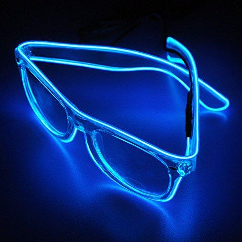 Veeki, LED-Draht-Brille mit beleuchteten Gläsern, LED-Neon-Brille für Partys, Kostümfeste, Bälle, Diskos, Halloween, Geburtstage, Festivals blau (Ei-halloween-kostüm)