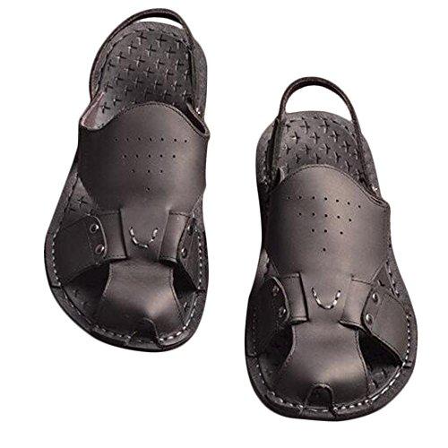 Man 's Sommer echtes Leder Strand Schuhe Casual Sandalen Black