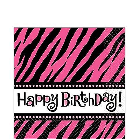 Zebra Stripes 'Pink and Black' Animal Print Happy Birthday Large