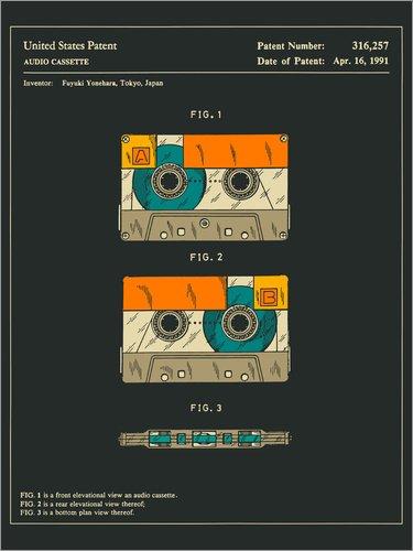 Póster 100 x 130 cm: Cassette Patent (1991) de Jazzberry Blue - impresión artística póster artístico