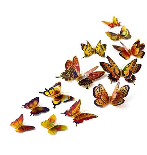 ZEZKT-Home 12 Stück 3D Schmetterlings Wandaufkleber | Dekor für Wohnzimmer, Kinderzimmer, Türen, Fenster, Badezimmer, Kühlschrank | Wandtattoo Wandsticker Wandbild Wand-Dekoration (Gold)