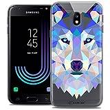 Caseink Coque Samsung Galaxy J3 2017 J320 (5 Housse Etui [Crystal Gel HD Polygon Series Animal - Souple - Ultra Fin - Imprimé en France] Loup