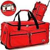 Reisetasche mit Trolleyfunktion 85L in rot Sporttasche Reisetrolley Gepäcktasche