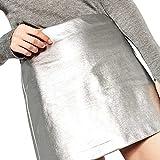 PinkLu Röcke Damen Vielseitiger Rock Aus Metallischem Hellem Leder Fashion Street Shooting FrüHling Und Sommer HeißEr Zweifarbiger Rock In A-Linie