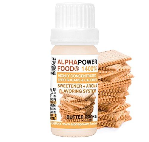 ALPHAPOWER FOOD Aroma alimentare 1400{85963ead126e38e000a48eeca4855c2783e12a46711d61f15556402874be612d}* liquido - gocce aromatizzanti e dolcificante senza zucchero,1x10ml aromi alimentari concentrati, Biscotti al burro - gusto delizioso, Flavour Drops, Flavdrops