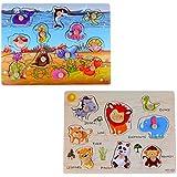 2 juegos de rompecabezas de madera, juguete preescolar para niños de más de 3 años (animales marinos + animales del bosque)