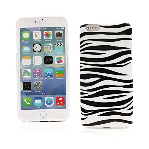 "Kit Me Out UK TPU Gel Case for Apple iPhone 6 Plus / 6S Plus 5.5"" Inch - Black / White Zebra Schwarz, Weiß Zebrastreifen"