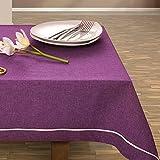 30x45 violett lila Tischdecke Tischtuch elegant praktisch pflegeleicht Leinoptik Lein Optik mit Borte Modern Lein