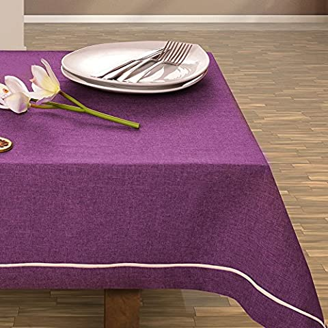De colour púrpura de decoración de mesa de colour morado con mantel de diseño práctico y de fácil cuidado Leinoptik lino con ribete de prendas de lino