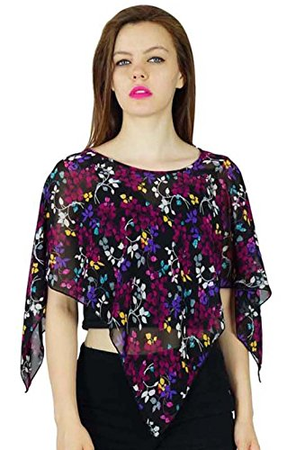 Bimba Frauen Georgette Poncho Brauch Top Sheer Coverup Short Top Bluse Georgette Poncho