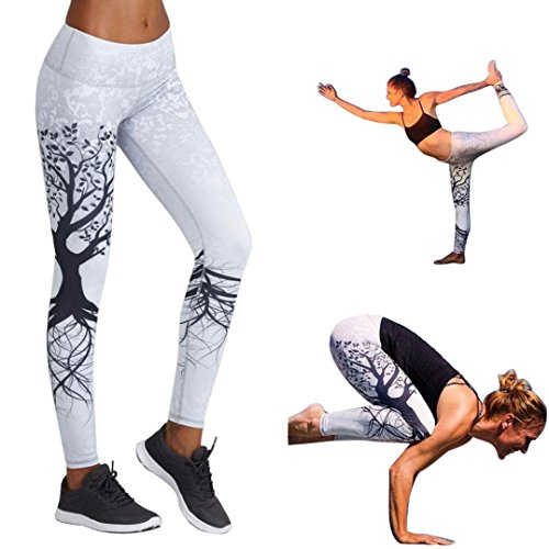 OSYARD Damen Gedruckte Sport Yoga Workout Gym Fitness Übung Sportliche Hosen(EU 40/XL, Weiß)