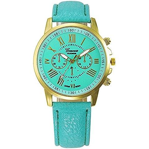 Ularma Geneva romano números de mujeres imitación cuero reloj de cuarzo analógico (verde)