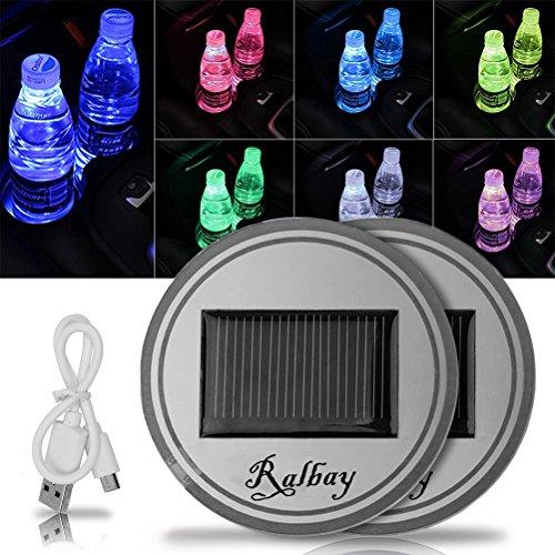 Ralbay Car Cup Mat Solar RGB LED Drink Holder Mat Pad Waterproof Light Sensor Cup Pad Coaster Mat - USB Car Interior Decoration Atmosphere Light Drink Coaster for All Cars(2 Pack)