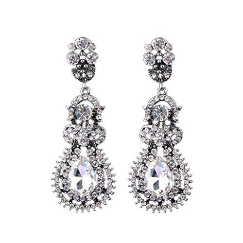 ELECTROPRIME® Wedding Bridal Teardrop Clear Crystal Rhinestone Long Dangle Stud Earrings
