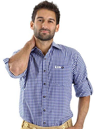 ALMBOCK Trachtenhemd Herren kariert | Slim-fit Männer Hemd dunkel-blau kariert | Karo Hemd aus 100{52e8729f8203d47b6a8637304bb01dc6a5b546de47317ee7e94b5b5c8fe2b6f2} Baumwolle in den Größen S-XXXL