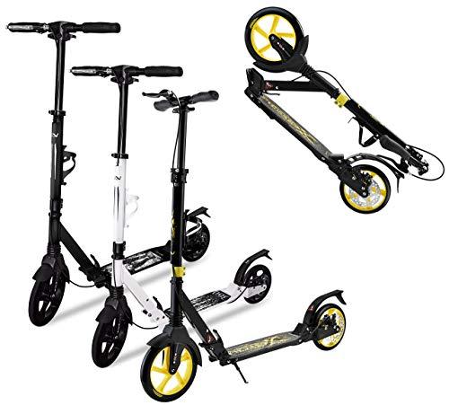 SportVida Scooter Roller Kinder & Erwachsene Klappbar Handbremse Stoßdämpfer Flaschenhalter | ABEC7 | Big Wheel Tretroller Ø 230mm PU Rollen | Kickroller Fußständer | Kickscooter (Schwarz-Gelb)