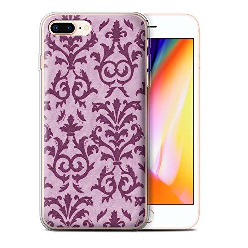 Stuff4 Gel TPU Hülle / Case für Apple iPhone 8 Plus / Grün Muster / Blättern Sie Muster Kollektion Rosa