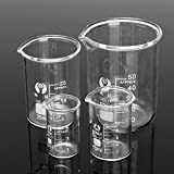 MYAMIA 4Pcs Laureato Vetro Borosilicato Beaker 5Ml 10Ml 25Ml 50Ml Set Volumetrico Vetreria da Laboratorio