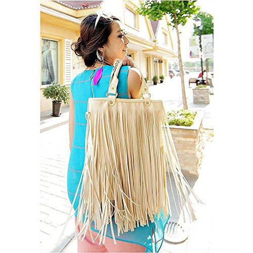 BOZEVON Damen Umhängetasche Schultertasche Troddel Tasche Handtasche Beutel PU Leder mit Reissverschluss - Schwarz Beige