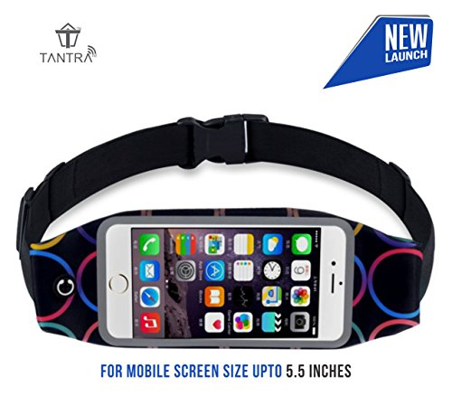 Tantra Zipper Running Waist Belt Pouch with Transparent Touch Screen Window, Headphone Jack