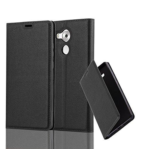 Cadorabo Hülle für Huawei Mate 8 - Hülle in Nacht SCHWARZ – Handyhülle mit Magnetverschluss, Standfunktion und Kartenfach - Case Cover Schutzhülle Etui Tasche Book Klapp Style