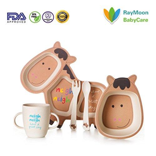RayMoon Tiere Form Kindergeschirrset Bambus Geschirr Besteck Set Bio Bambus Umweltfreundlich Pferd
