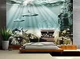 Vliestapete Unterwasser Schatz VT20 Größe:400x280cm, Fototapete, Vlies Tapete, High Quality, PREMIUM Bildtapete, Tapete Fische Meer Hai